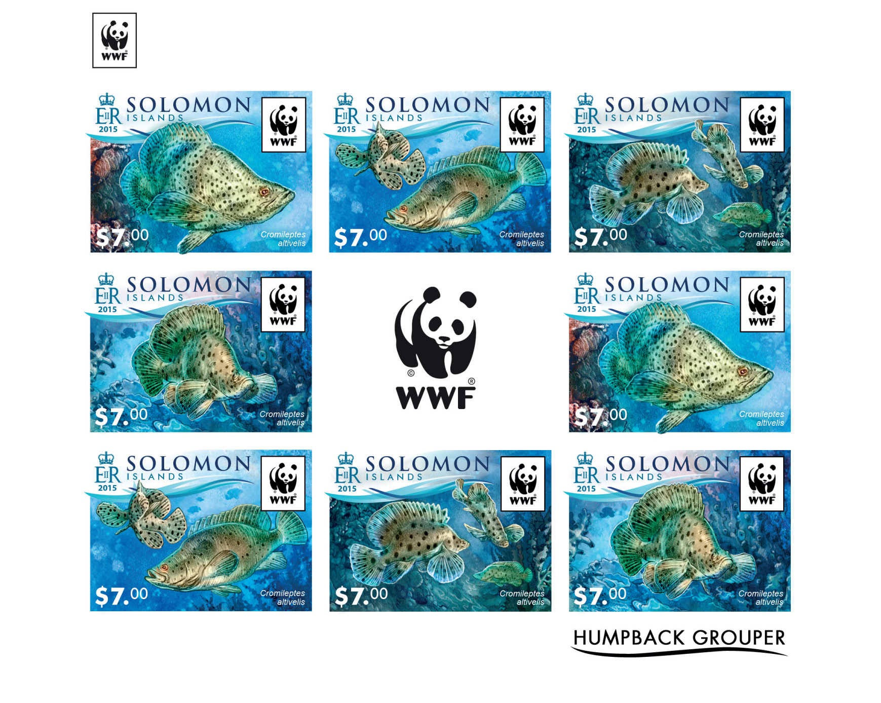 WWF – Fish (imperf. 2 sets) - Issue of Solomon islands postage stamps