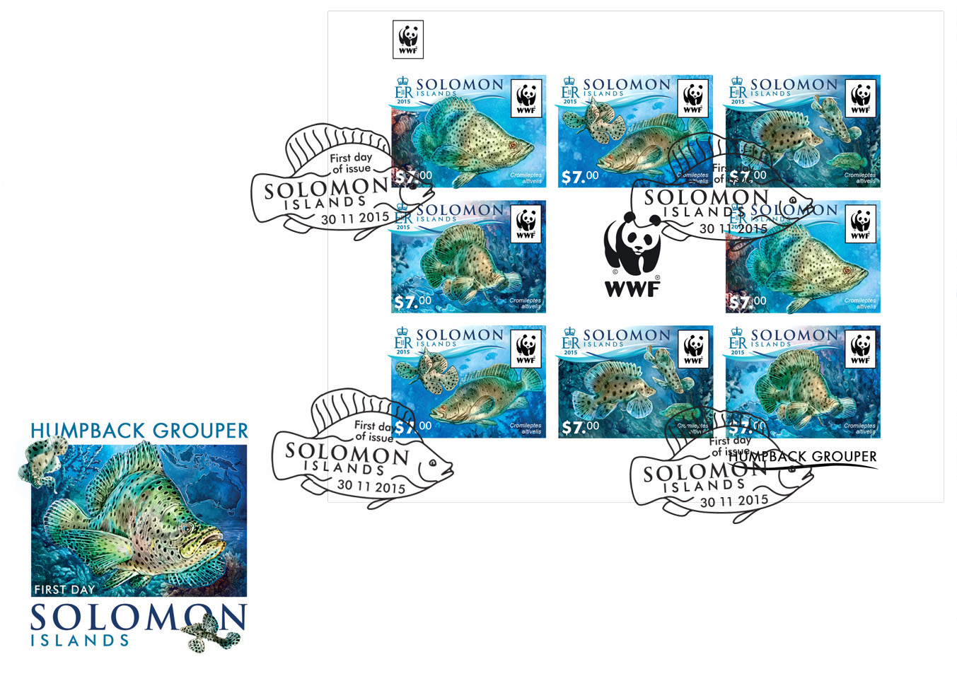 WWF – Fish (FDC imperf.) - Issue of Solomon islands postage stamps