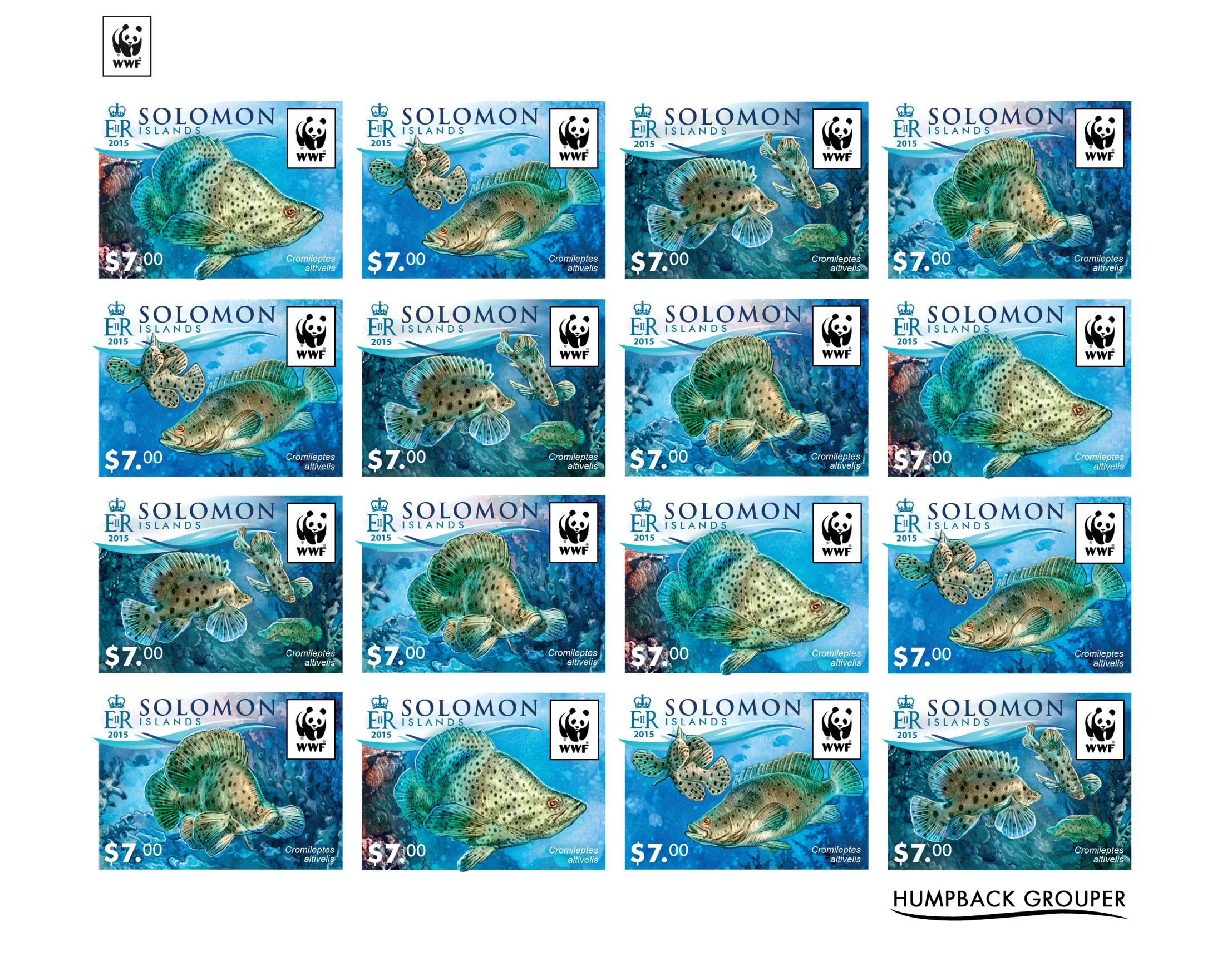 WWF – Fish (imperf. 4 sets) - Issue of Solomon islands postage stamps
