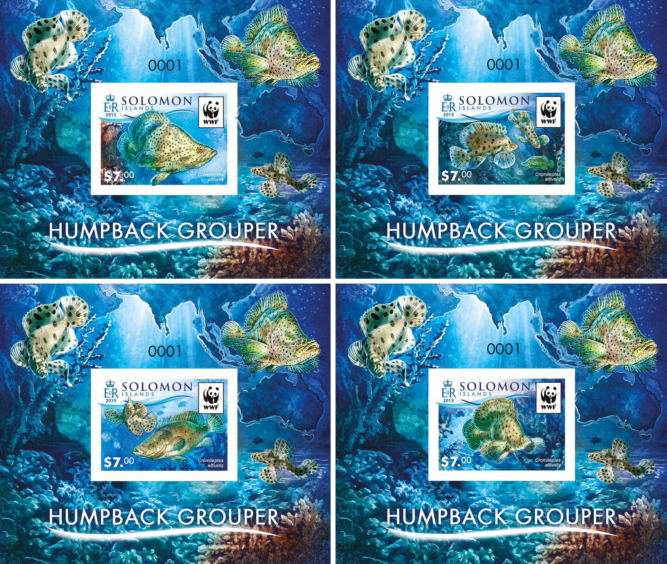 WWF – Fish (imperf. 4 delux) - Issue of Solomon islands postage stamps