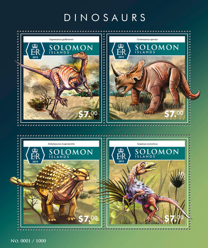 Dinosaurs - Issue of Solomon islands postage stamps