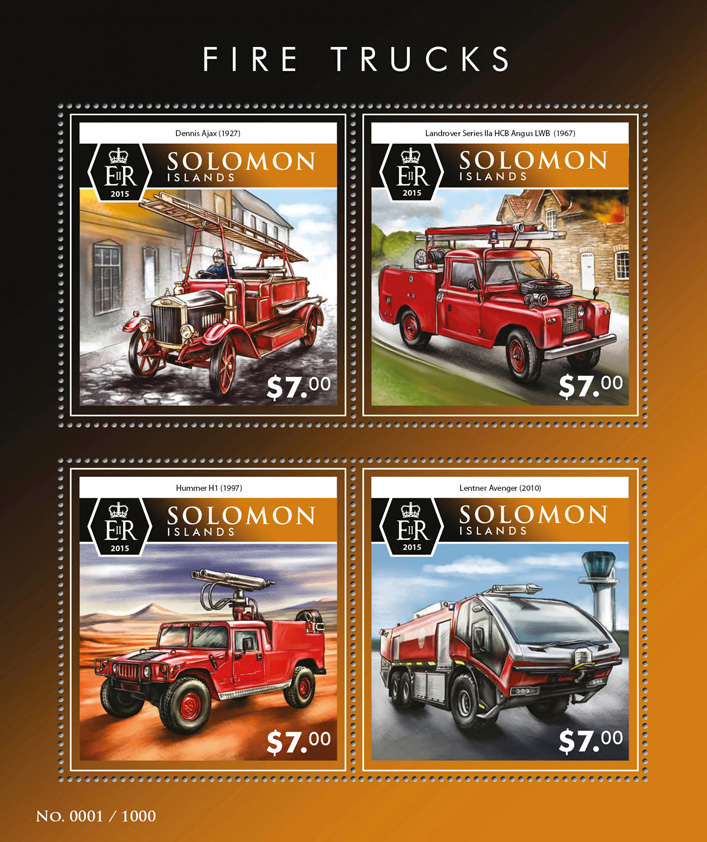 Fire trucks - Issue of Solomon islands postage stamps