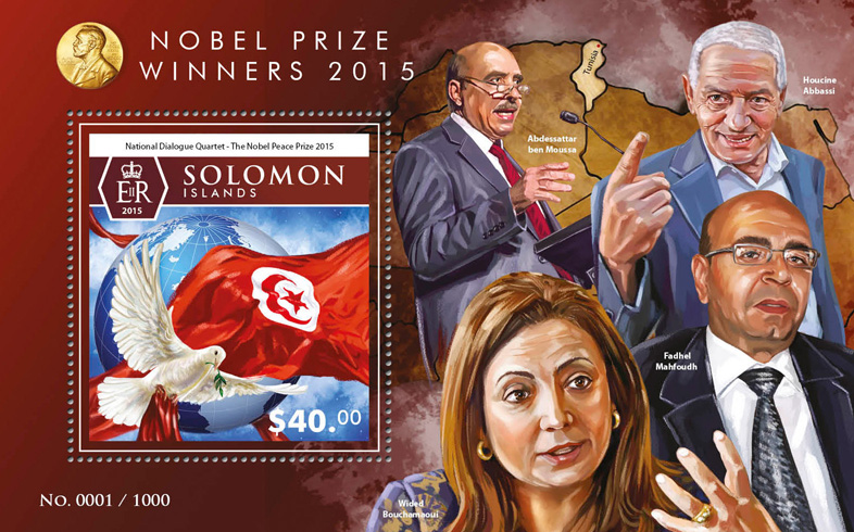 Nobel prize - Issue of Solomon islands postage stamps