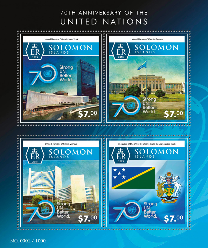United Nations - Issue of Solomon islands postage stamps