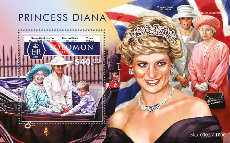 Princess Diana - Issue of Solomon islands postage stamps