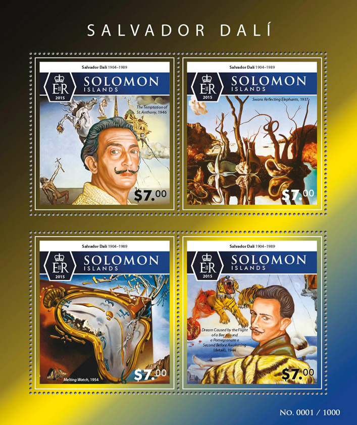 Salvador Dali - Issue of Solomon islands postage stamps