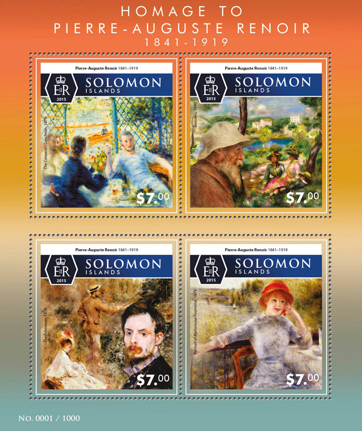 Pierre-Auguste Renoir - Issue of Solomon islands postage stamps