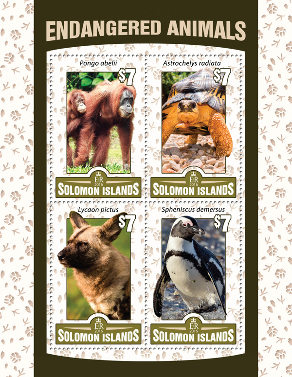 Endangered animals - Issue of Solomon islands postage stamps