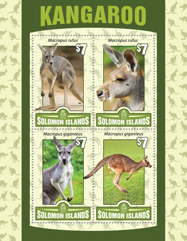 Kangaroo - Issue of Solomon islands postage stamps