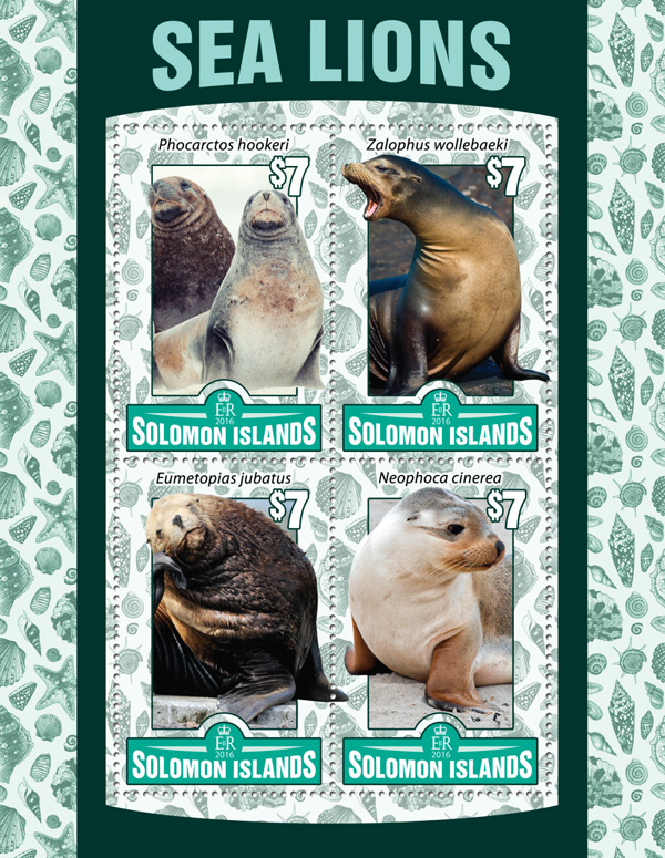 Sea lions - Issue of Solomon islands postage stamps