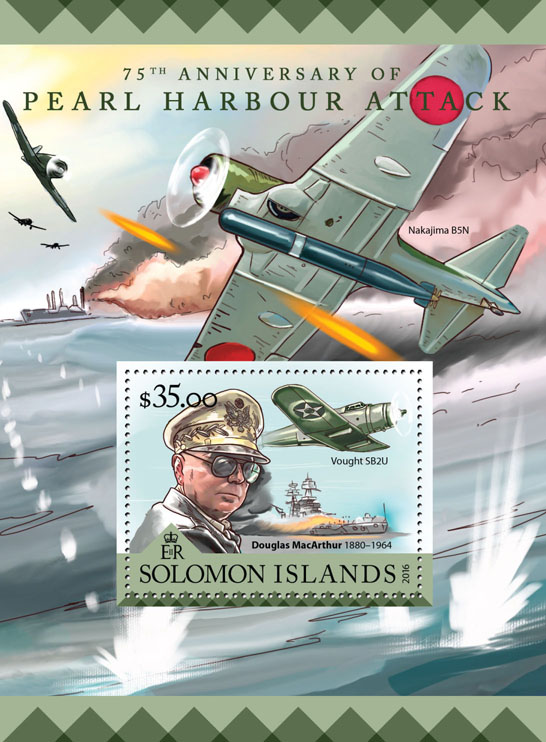 Pearl Harbour - Issue of Solomon islands postage stamps