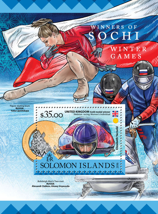 Sochi Winter Games  - Issue of Solomon islands postage stamps