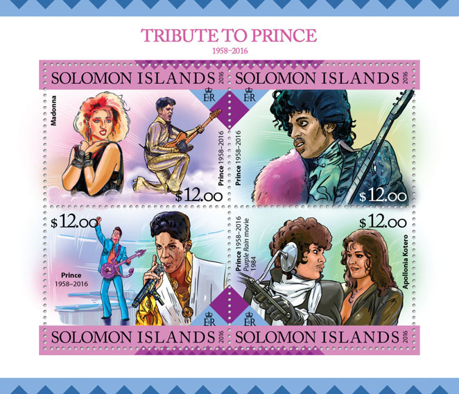 Tribute to Prince - Issue of Solomon islands postage stamps