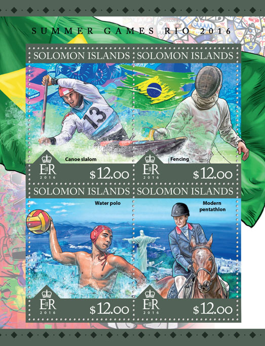 Summer Games Rio 2016 - Issue of Solomon islands postage stamps