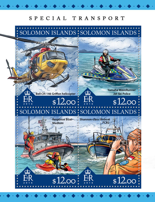 Special transport - Issue of Solomon islands postage stamps