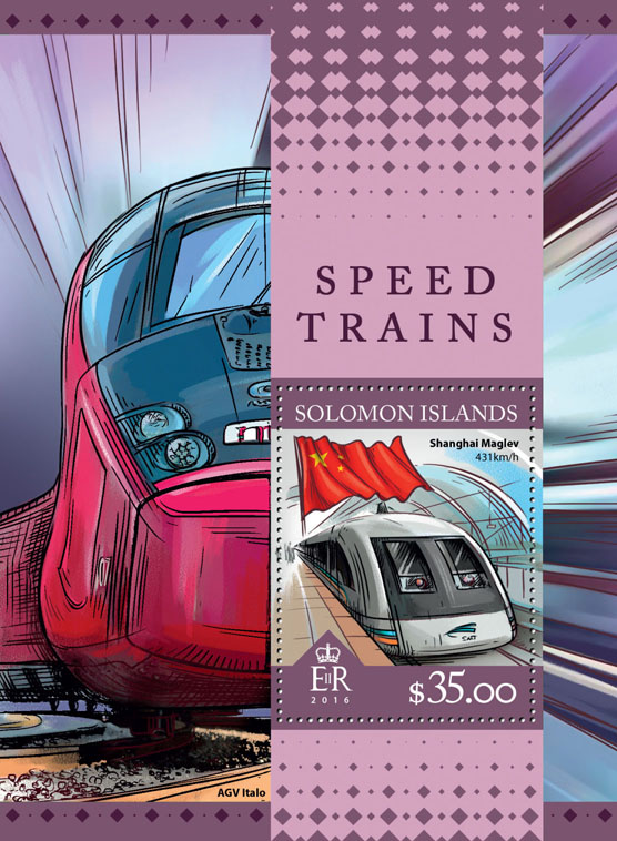 Speed trains - Issue of Solomon islands postage stamps