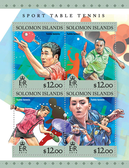 Table tennis - Issue of Solomon islands postage stamps
