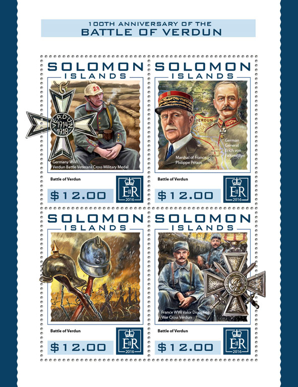 Battle of Verdun - Issue of Solomon islands postage stamps