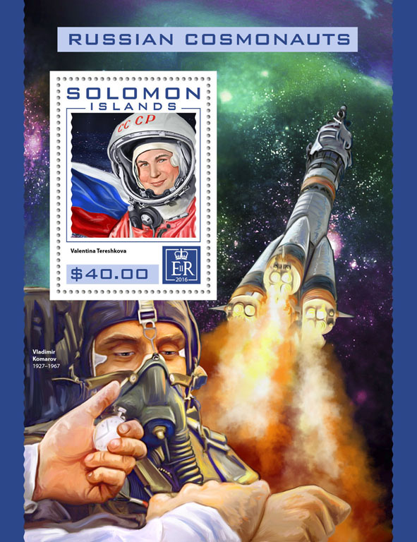 Russian cosmonauts - Issue of Solomon islands postage stamps