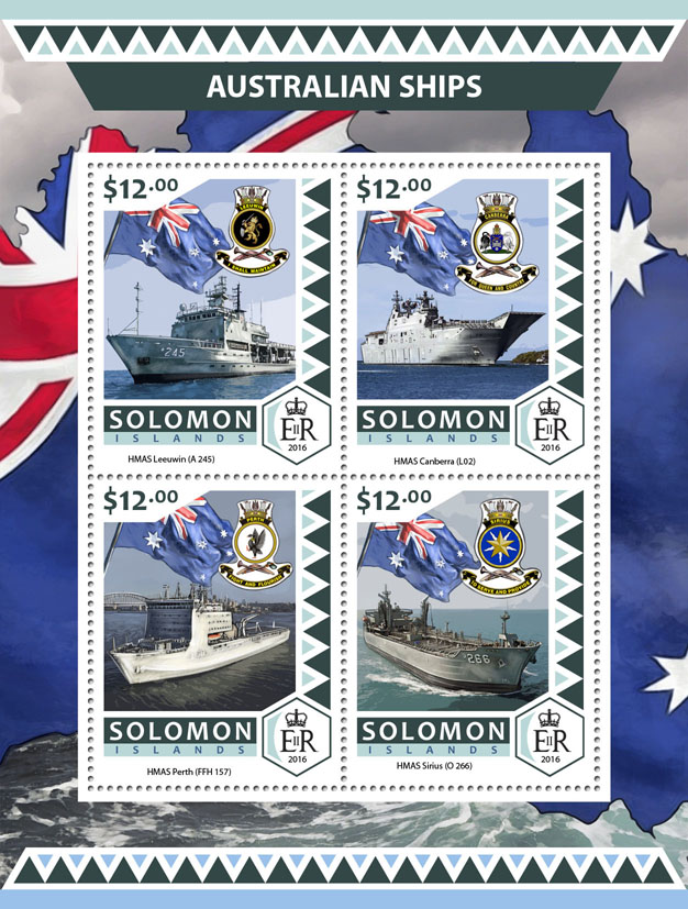 Australian ships - Issue of Solomon islands postage stamps