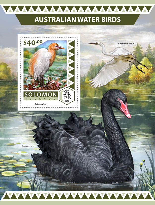 Australian water birds - Issue of Solomon islands postage stamps