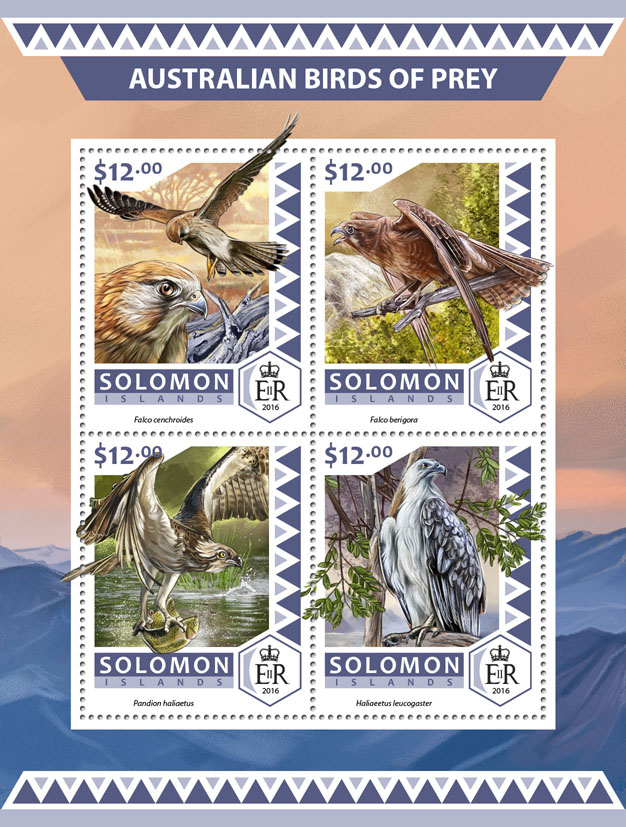 Australian birds of prey - Issue of Solomon islands postage stamps