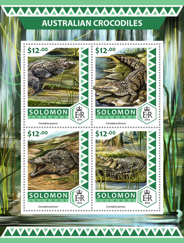 Australian crocodiles - Issue of Solomon islands postage stamps