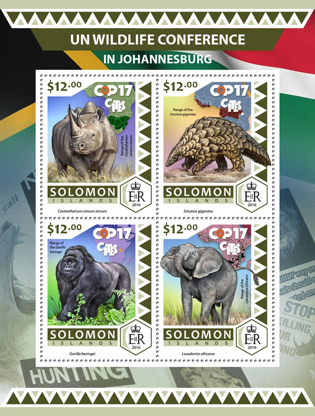 UN wildlife conference in  Johannesburg - Issue of Solomon islands postage stamps