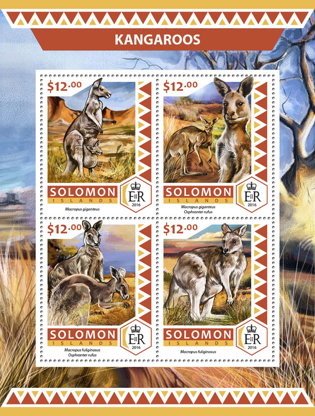 Kangaroos - Issue of Solomon islands postage stamps
