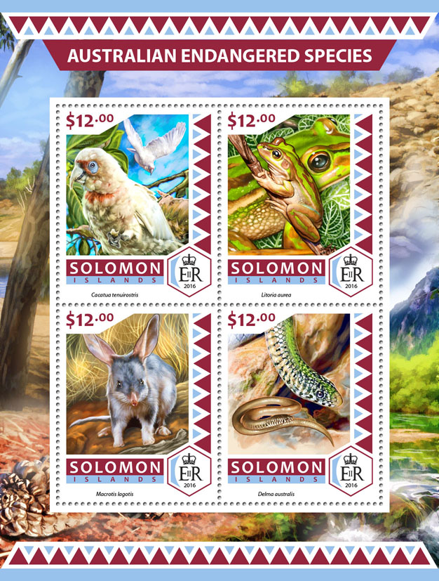 Australian endangered species - Issue of Solomon islands postage stamps