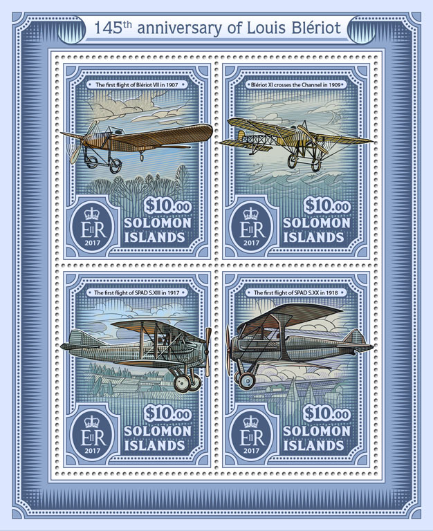 Louis Blériot  - Issue of Solomon islands postage stamps