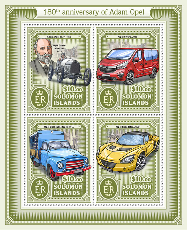 Adam Opel  - Issue of Solomon islands postage stamps