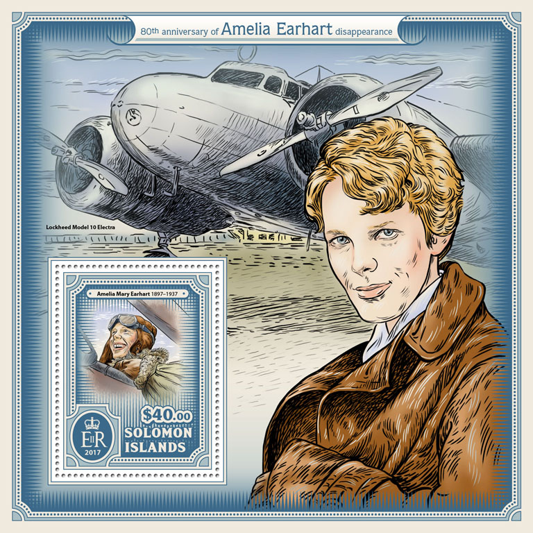 Amelia Earhart - Issue of Solomon islands postage stamps