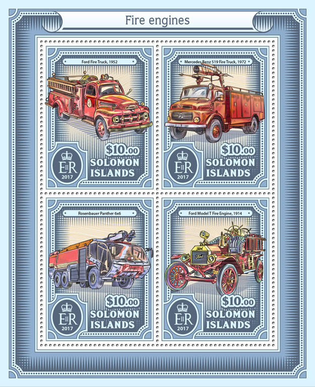 Fire engines - Issue of Solomon islands postage stamps