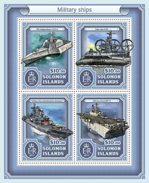 Military ships - Issue of Solomon islands postage stamps