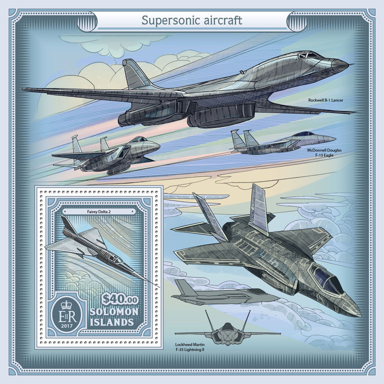 Supersonic aircraft - Issue of Solomon islands postage stamps
