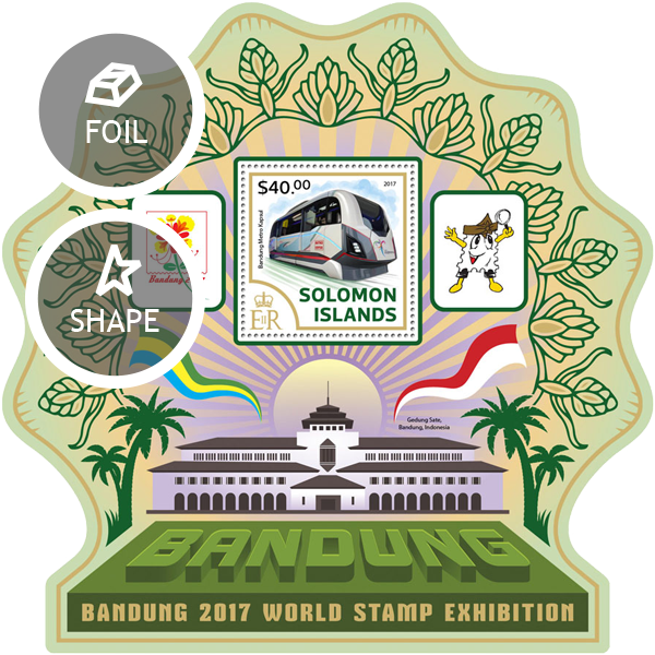 Exhibition BANDUNG - Issue of Solomon islands postage stamps
