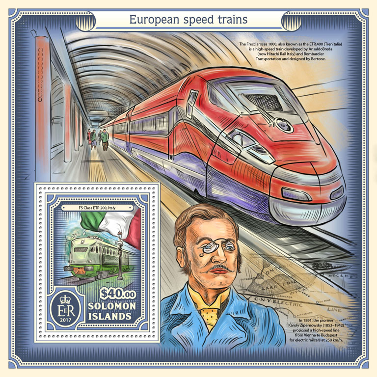 European speed trains - Issue of Solomon islands postage stamps