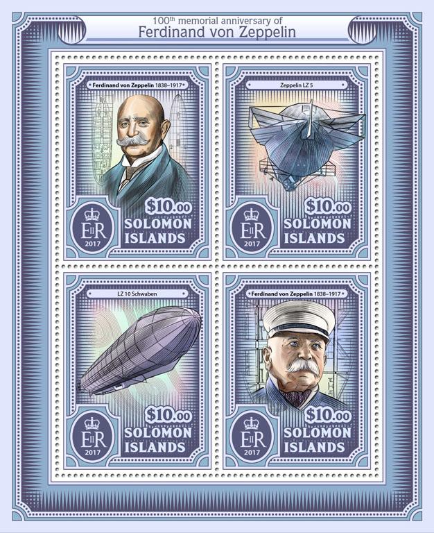 Ferdinand von Zeppelin - Issue of Solomon islands postage stamps