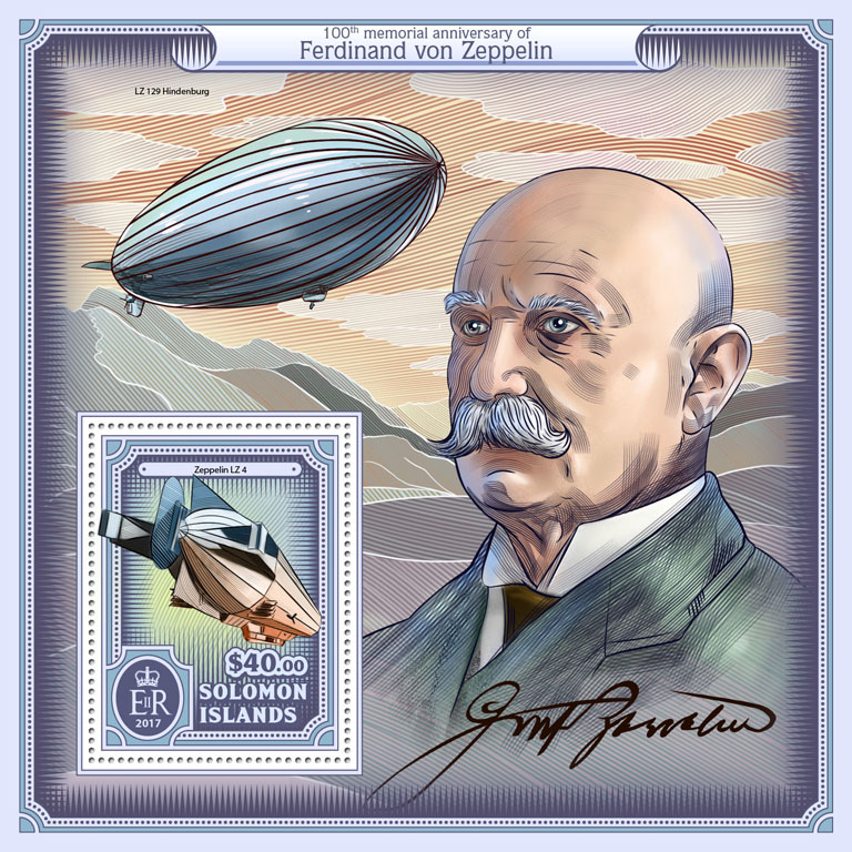 Ferdinand von Zeppelin - Issue of Solomon islands postage stamps