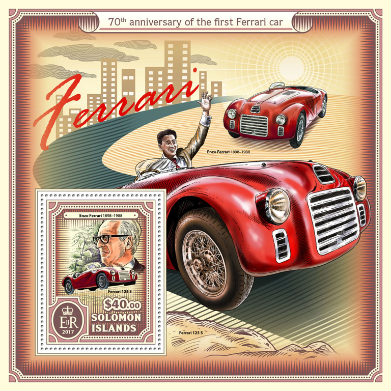 Ferrari car - Issue of Solomon islands postage stamps