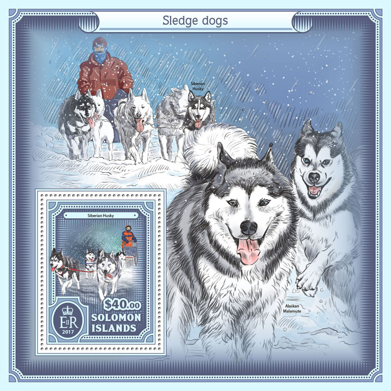 Sledge dogs - Issue of Solomon islands postage stamps