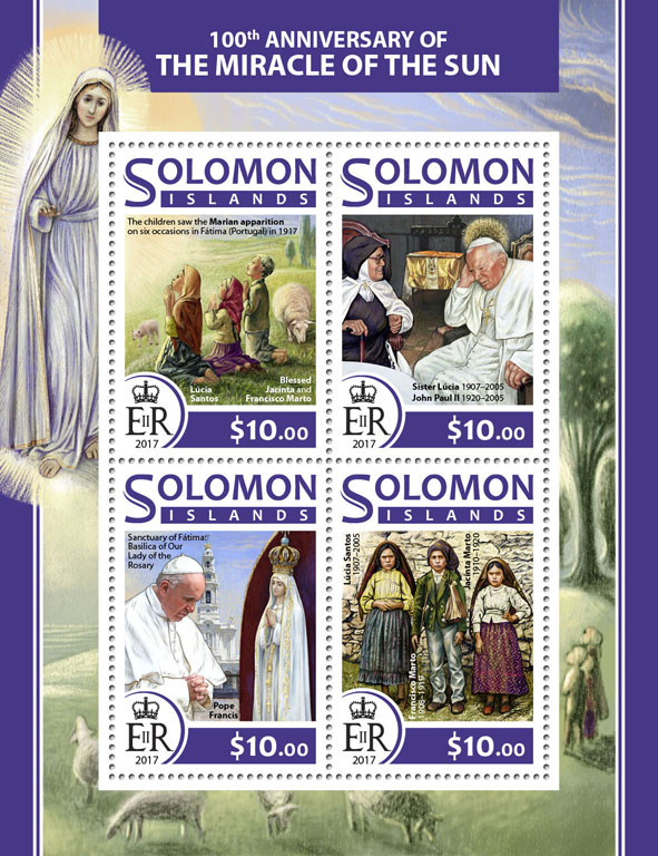 Miracle of the Sun - Issue of Solomon islands postage stamps