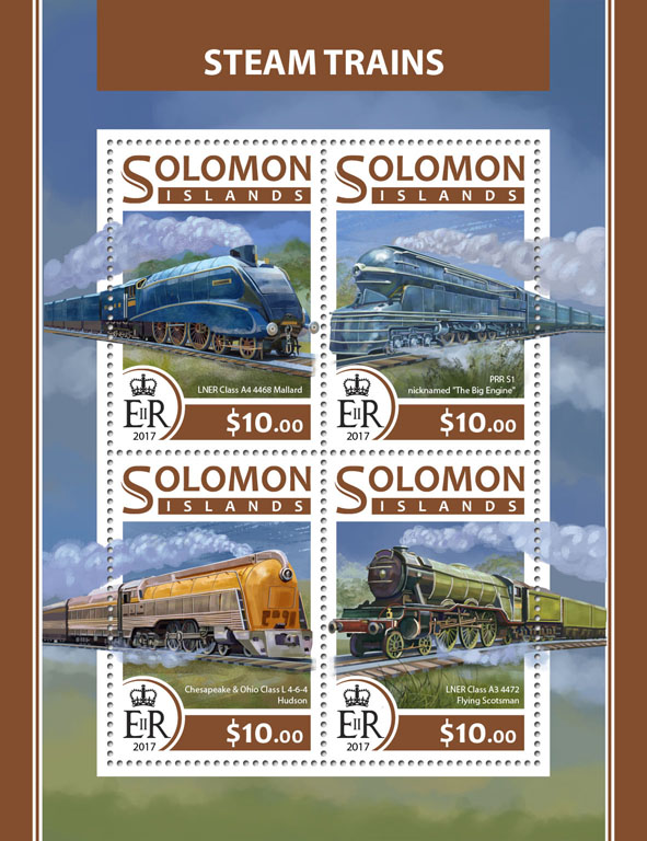 Steam trains - Issue of Solomon islands postage stamps