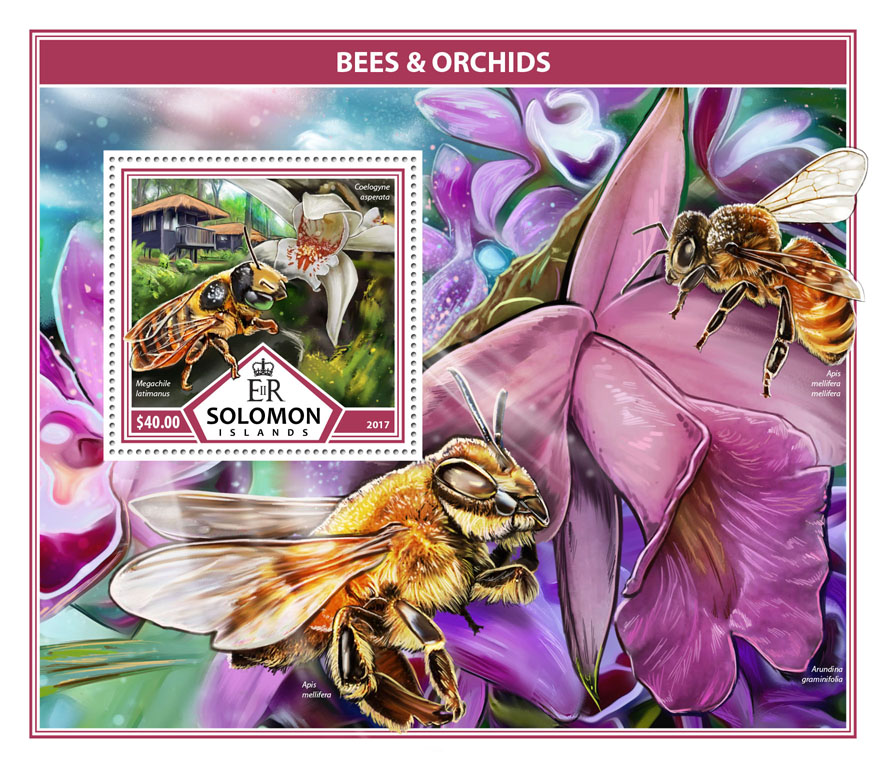 Bees & Orchids - Issue of Solomon islands postage stamps