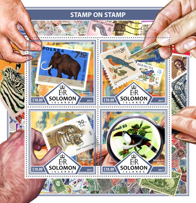 Stamps on stamps - Issue of Solomon islands postage stamps