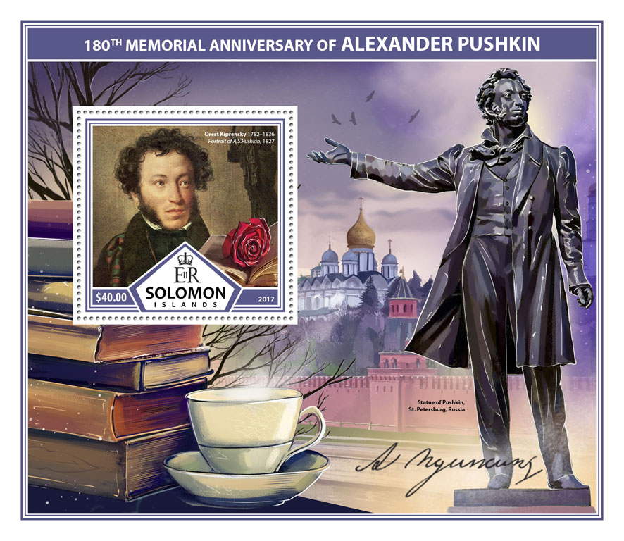 Alexander Pushkin - Issue of Solomon islands postage stamps