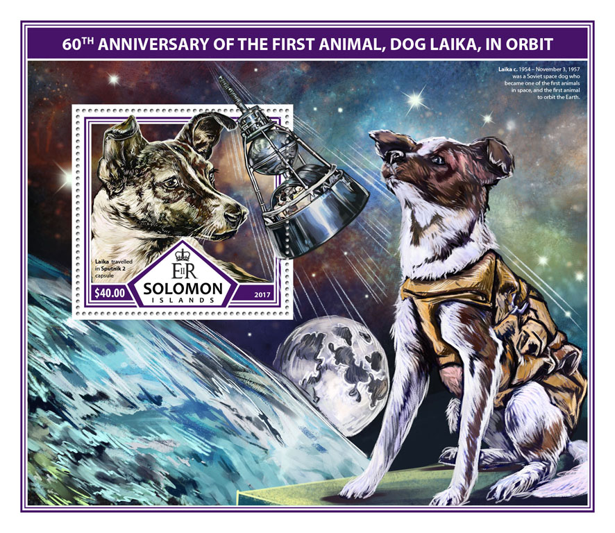 First animal in orbit  - Issue of Solomon islands postage stamps