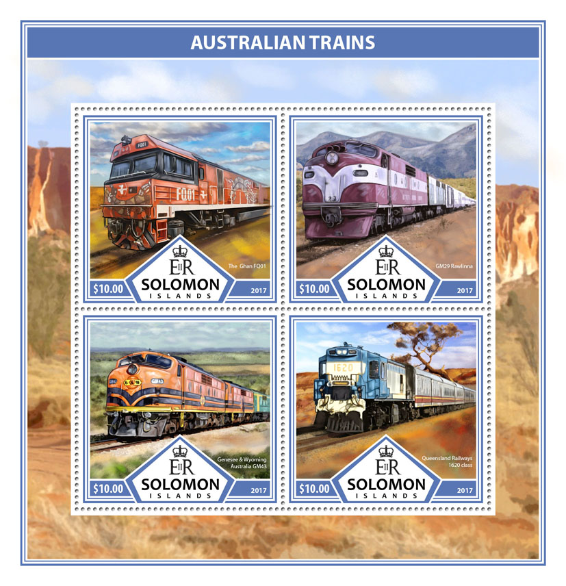 Australian trains - Issue of Solomon islands postage stamps