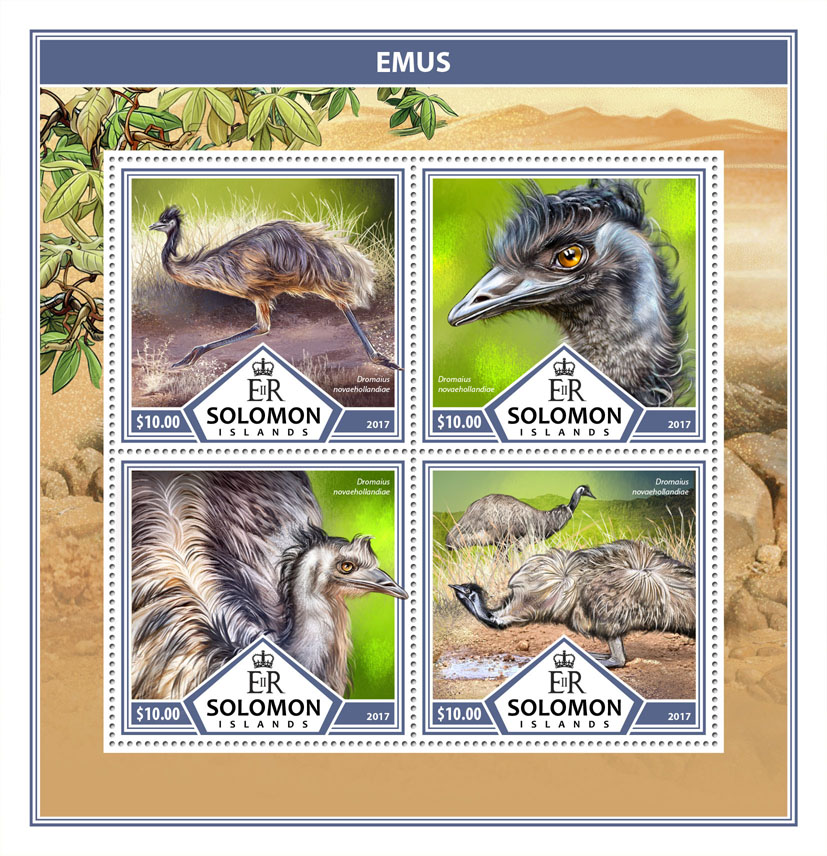 Emus - Issue of Solomon islands postage stamps